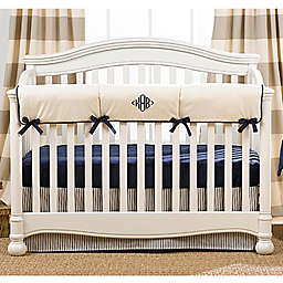 Liz And Roo Sailcloth Crib Rail Guard in Navy/Tan