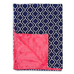 Baby Laundry Minky Trellis/Watermelon Posh Blanket in Navy
