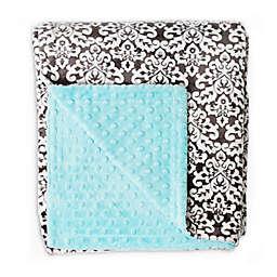 Baby Laundry Minky Damask/Tiffany Bump Blanket in Charcoal