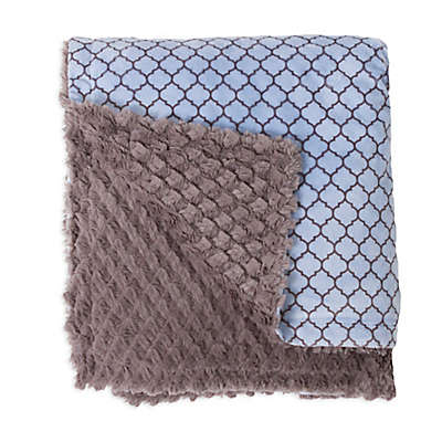 Baby Laundry Minky Lattice/Tile Blanket in Blue/Grey