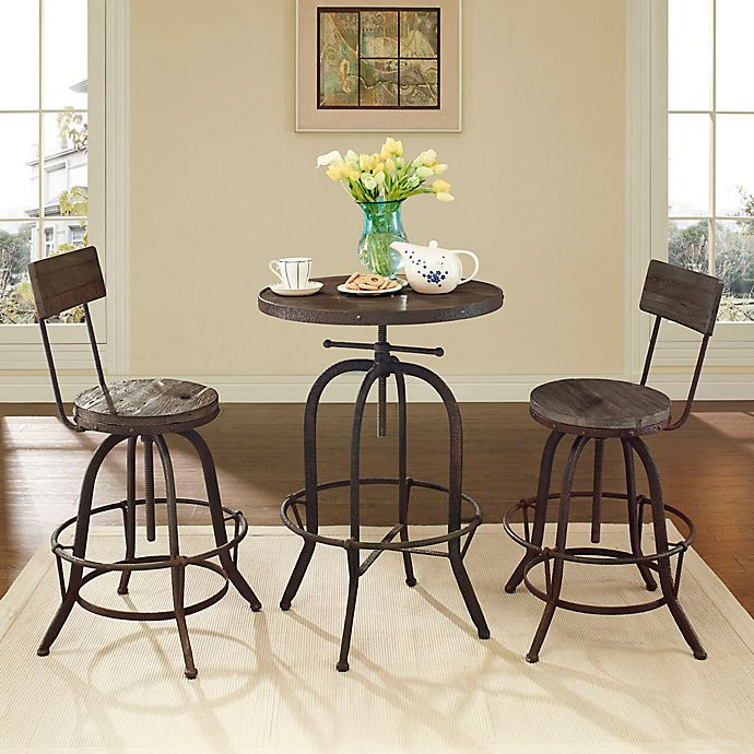 Alternate image 1 for Modway Gather 3-Piece Dining Set in Brown