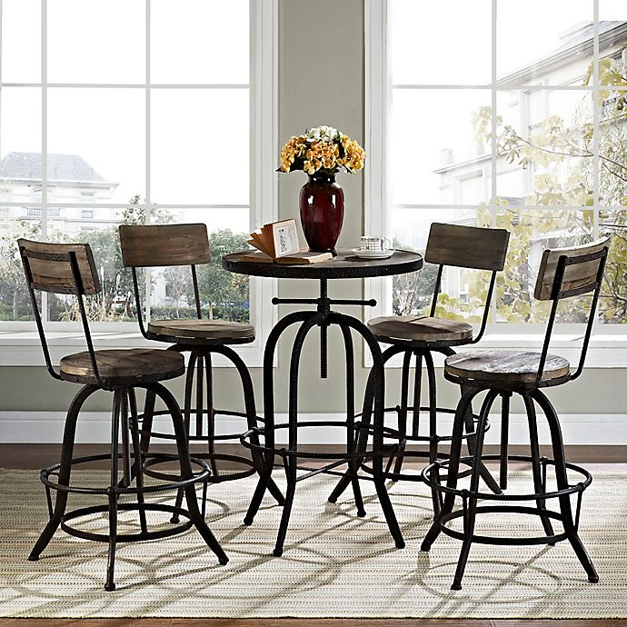 Alternate image 1 for Modway Gather 5-Piece Dining Set in Brown