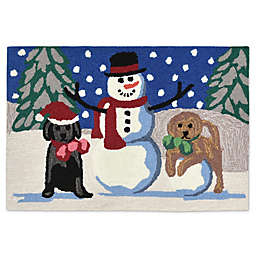 Trans-Ocean Front Porce Snow Puppies 1-Foot 8-Inch x 2-Foot 6-Inch Accent Rug