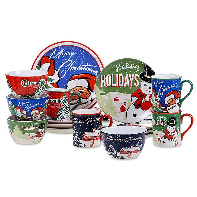 certified international retro christmas dinnerware collection