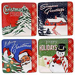 Certified International® Retro Christmas Square Canapé Plates (Set of 4)