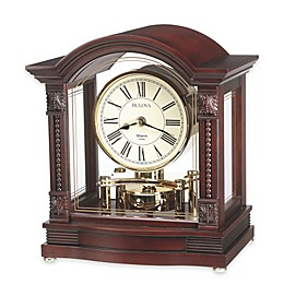 Bulova Sebastian 10.75-Inch x 6.5-Inch Table Clock in Walnut