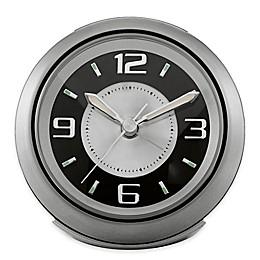 Bulova Lite Night Round Alarm Clock in Silver Grey