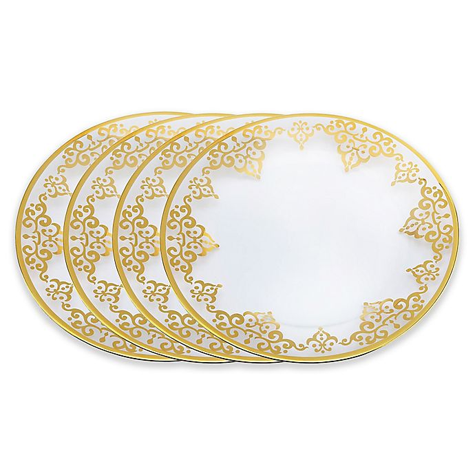 Alternate image 1 for Classic Touch Vivid Charger Plates in Gold (Set of 4)