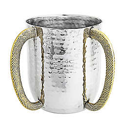 Classic Touch Hammered Stainless Steel Wash Cup with Gold Handles