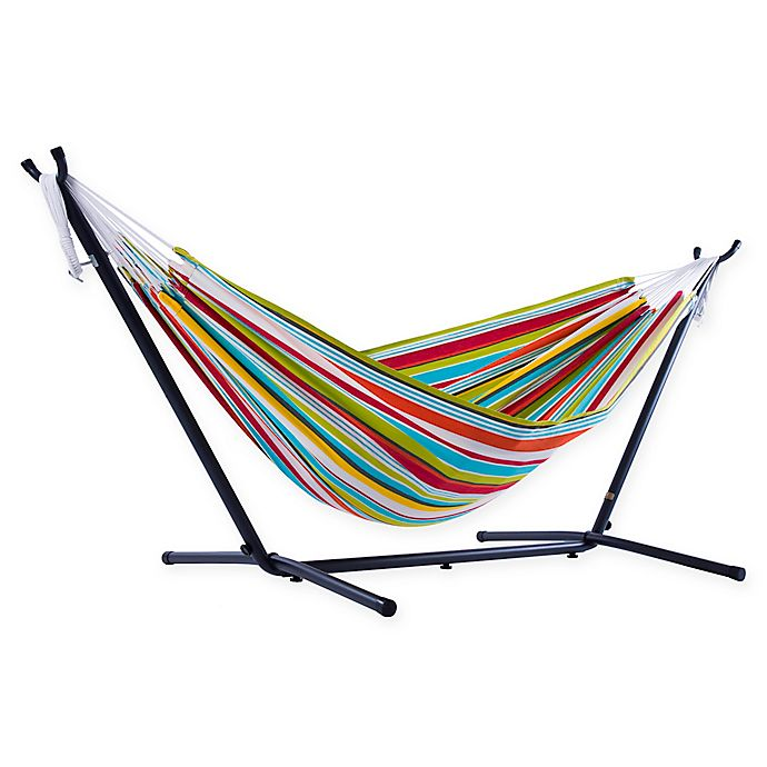 Alternate image 1 for Vivere 9-Foot Multicolor Stripe Double Hammock with Stand