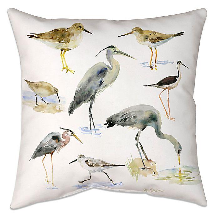 Alternate image 1 for Watercolor Shorebirds Indoor/Outdoor Throw Pillow