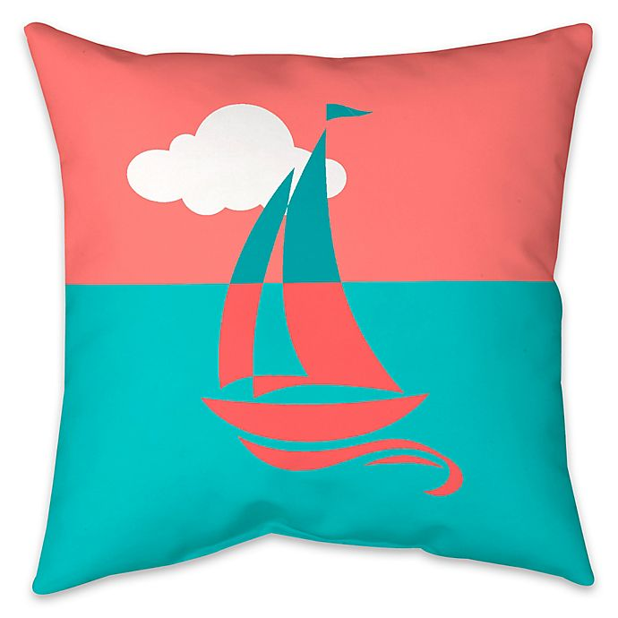 Alternate image 1 for Colorblock Sailboat Indoor/Outdoor Throw Pillow