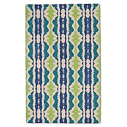 Feizy Lonni Ikat Stripe Indoor/Outdoor Area Rug in Blue/Green