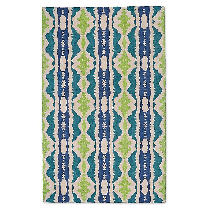 Alternate image 1 for Feizy Lonni Ikat Stripe 12-Foot x 15-Foot Indoor/Outdoor Area Rug in Blue/Green
