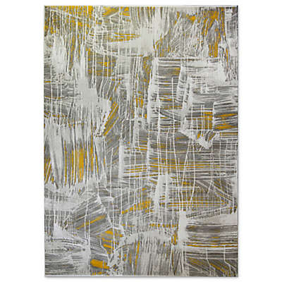 Home Dynamix Tanja Abstract Paint Brush Area Rug in Ivory/Gold