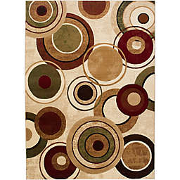 Home Dynamix Tribeca Radiating Circles 5-Foot 2-Inch x 7-Foot 2-Inch Area Rug in Ivory/Multicolor