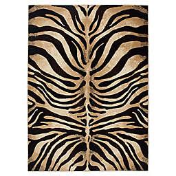 Home Dynamix Tribeca Tiger Stripe 7'10 x 10'6 Area Rug in Dark Brown/Beige