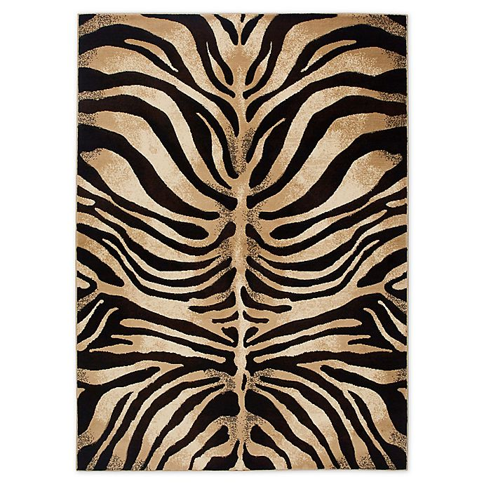 Alternate image 1 for Home Dynamix Tribeca Tiger Stripe 5-Foot 2-Inch x 7-Foot 2-Inch Area Rug in Black/Ivory