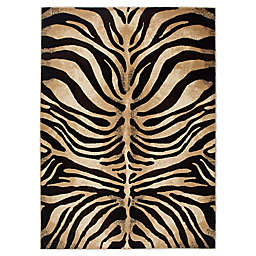 Home Dynamix Tribeca Tiger Stripe Area Rug in Dark Brown/Beige
