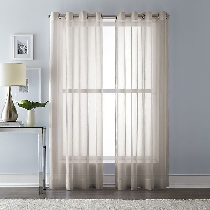 Alternate image 1 for Wamsutta 95-Inch Grommet Top Sheer Window Curtain Panel in Linen