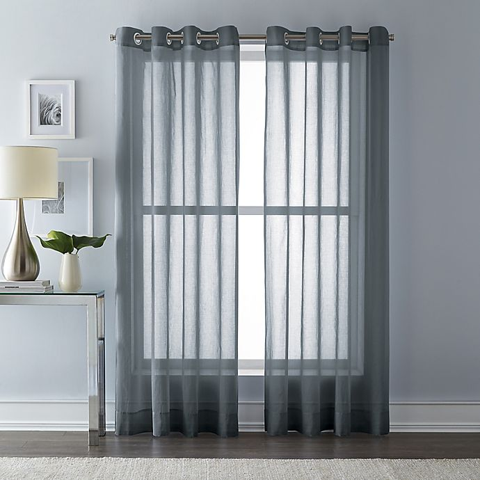 Alternate image 1 for Wamsutta® 63-Inch Grommet Top Sheer Window Curtain Panel in Charcoal