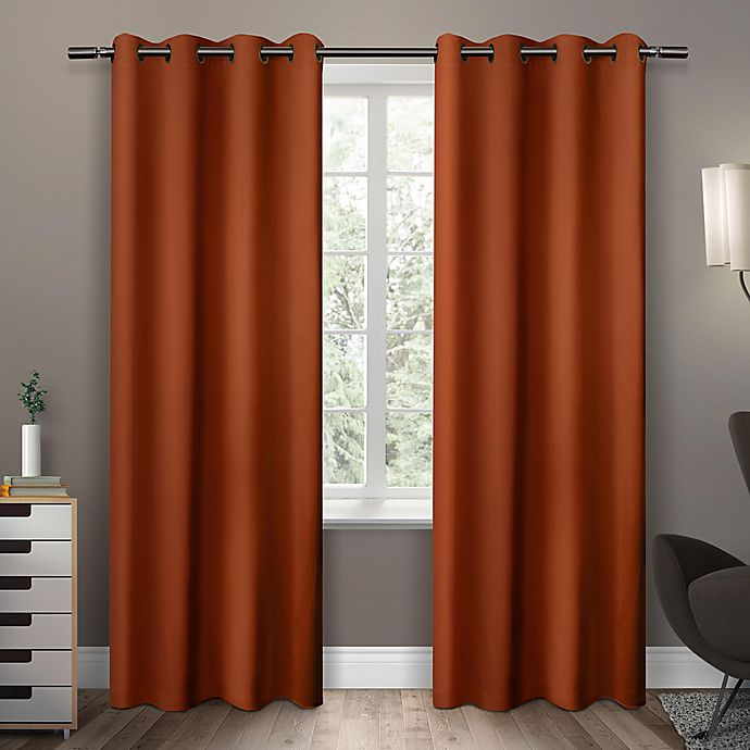 Alternate image 1 for Sateen 63-Inch Grommet Top Room Darkening Window Curtain Panel Pair in Orange