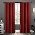 Sateen 84-Inch Grommet Top Room Darkening Window Curtain Panel Pair in Red