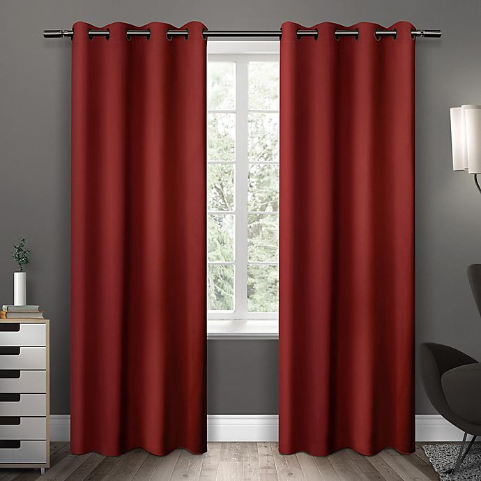 Alternate image 1 for Sateen 63-Inch Grommet Top Room Darkening Window Curtain Panel Pair in Red