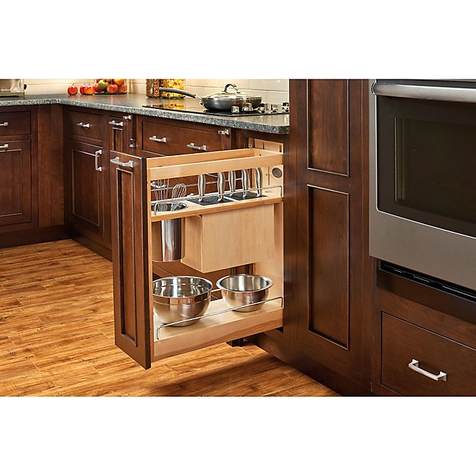 Alternate image 1 for Rev-A-Shelf 448KB-BCSC-8C 8 in. Pull-Out Wood Base Organizer w/Knife Block and Soft-Close Slides