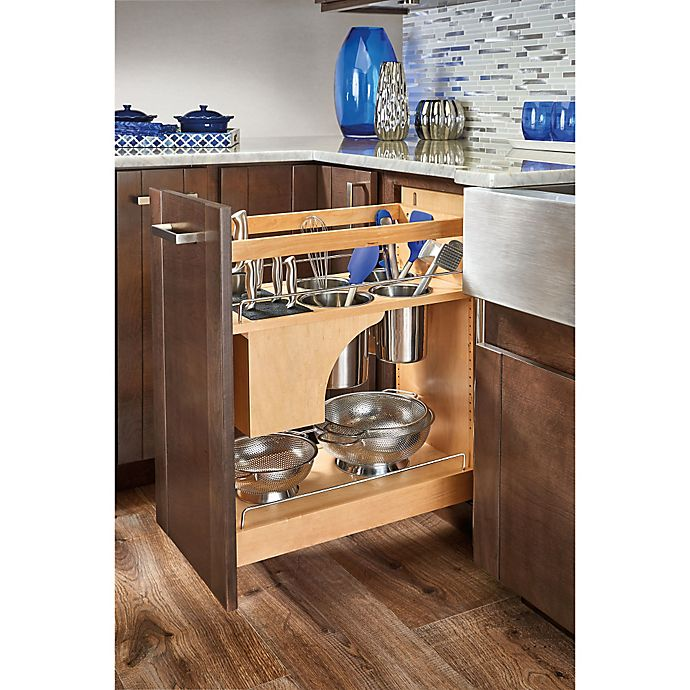 Alternate image 1 for Rev-A-Shelf 448KB-BCSC-11C 11 in. Pull-Out Wood Base Organizer w/Knife Block and Soft-Close Slides
