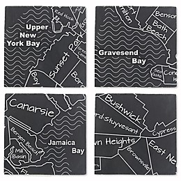 Thirstystone® Brooklyn Map Slate Coasters in Black/White (Set of 4)