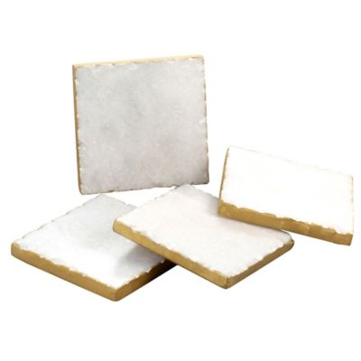 Thirstystone® Gold Edge Marble Coasters In White (Set Of 4) by Bed Bath And Beyond