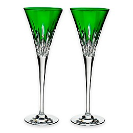Waterford® Lismore Pops Toasting Flutes in Emerald (Set of 2)