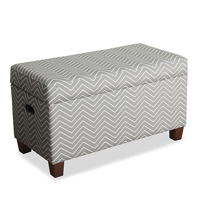 Alternate image 1 for KinFine HomePop Cameron Storage Bench in Chevron Grey