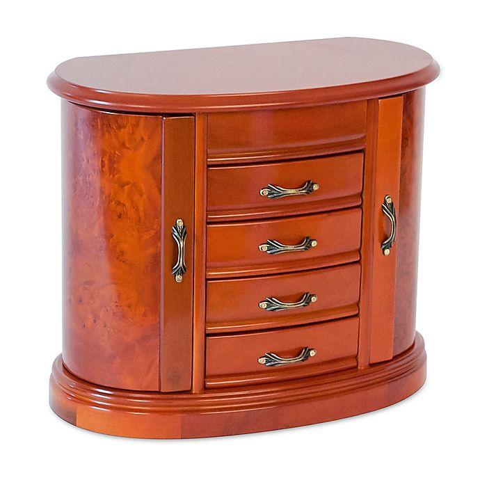 Mele & Co. Leigh Wooden Jewelry Box in Burlwood Oak Finish ...