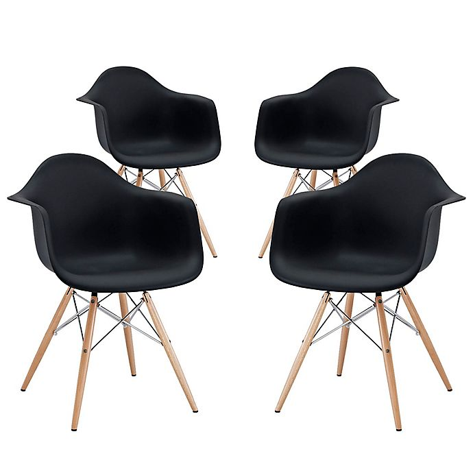 Alternate image 1 for Modway Pyramid Dining Armchairs in Black (Set of 4)
