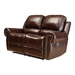 Abbyson Living® Sedona Leather Loveseat in Burgundy