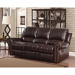 Abbyson Living® Sedona Leather Sofa in Burgundy