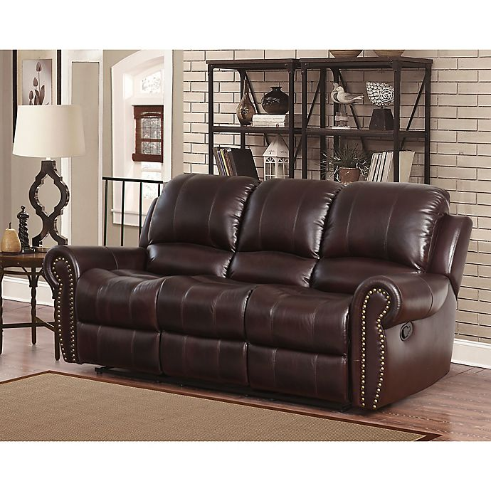 Alternate image 1 for Abbyson Living® Sedona Leather Sofa in Burgundy