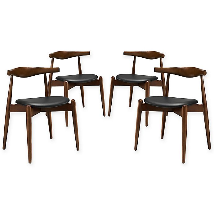 Alternate image 1 for Modway Stalwart Dining Side Chair in Dark Walnut/Black (Set of 4)