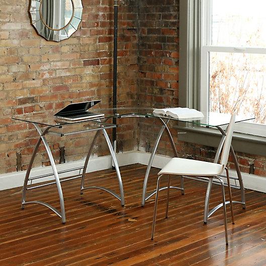 Alternate image 1 for Forest Gate Modern Glass Corner Computer Desk