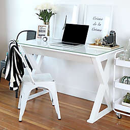 "Forest Gate 48"" Modern Glass Metal Computer Desk"