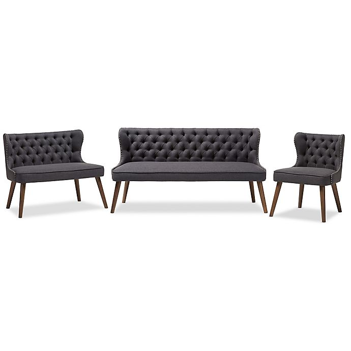 Alternate image 1 for Baxton Studio Scarlett 3-Piece Upholstered Button-Tufted Sofa Set
