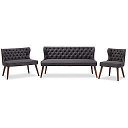 Baxton Studio Scarlett 3-Piece Upholstered Button-Tufted Sofa Set