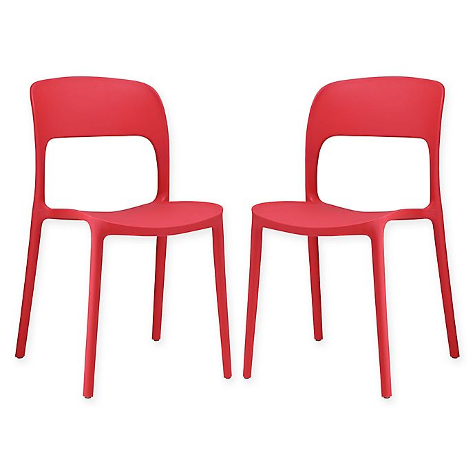 Alternate image 1 for Modway Hop Dining Side Chairs in Red (Set of 2)