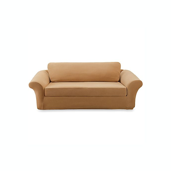 Stretch Pique 3 Piece Camel Sofa Slipcover By Sure Fit Bed Bath