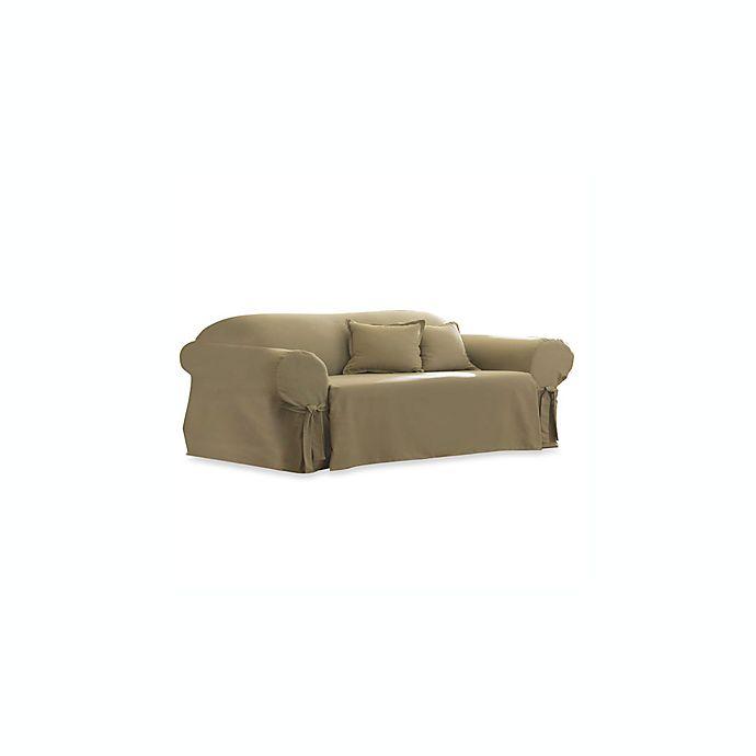 Cotton Linen Duck Sofa Slipcover by Sure Fit® | Bed Bath ...