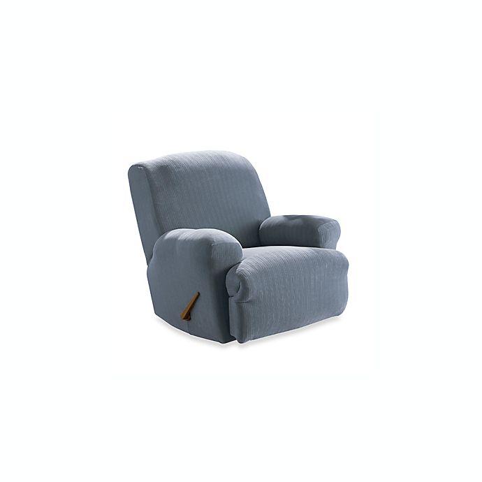 Super Stretch Pinstripe French Blue Recliner Slipcover By Sure Fit Creativecarmelina Interior Chair Design Creativecarmelinacom