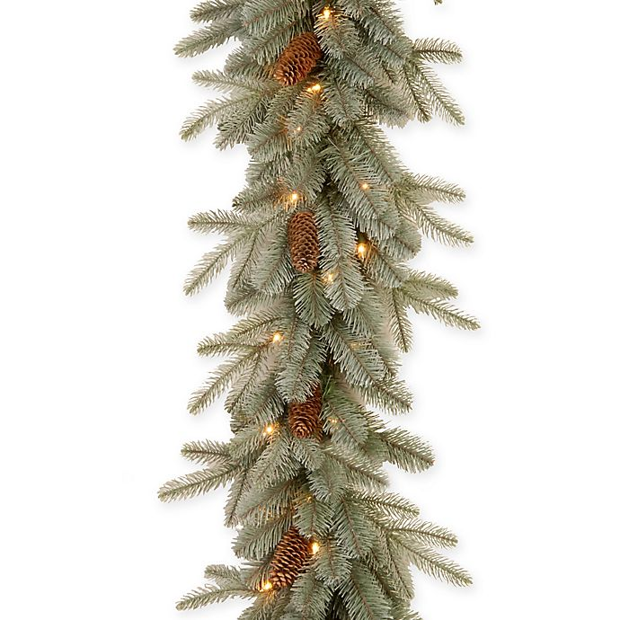 Alternate image 1 for National Tree 9-Foot Frosted Arctic Spruce Pre-Lit Garland with Clear Lights