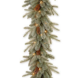National Tree 9-Foot Frosted Arctic Spruce Pre-Lit Garland with Clear Lights